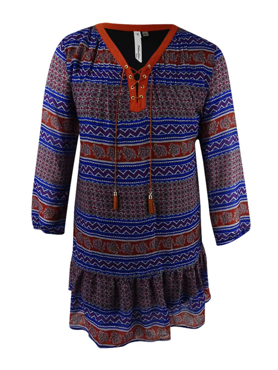 8dc2048cad1 Ny Collection Women s Petite Lace-Up Printed Peasant Dress (PL