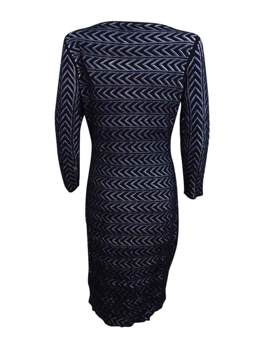 Calvin-Klein-Women-039-s-Chevron-Bodycon-Sweater-Dress