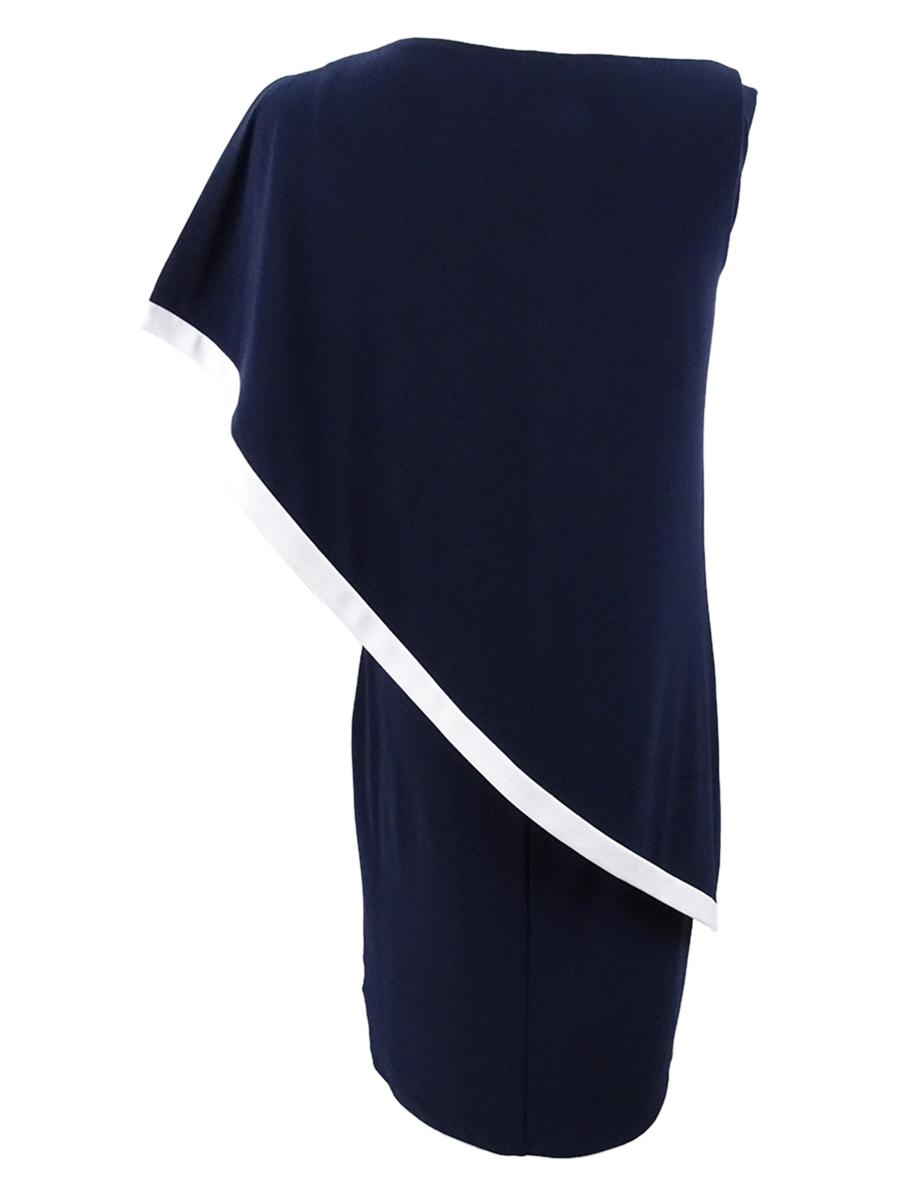 Lauren-by-Ralph-Lauren-Women-039-s-Colorblocked-Overlay-Dress thumbnail 6