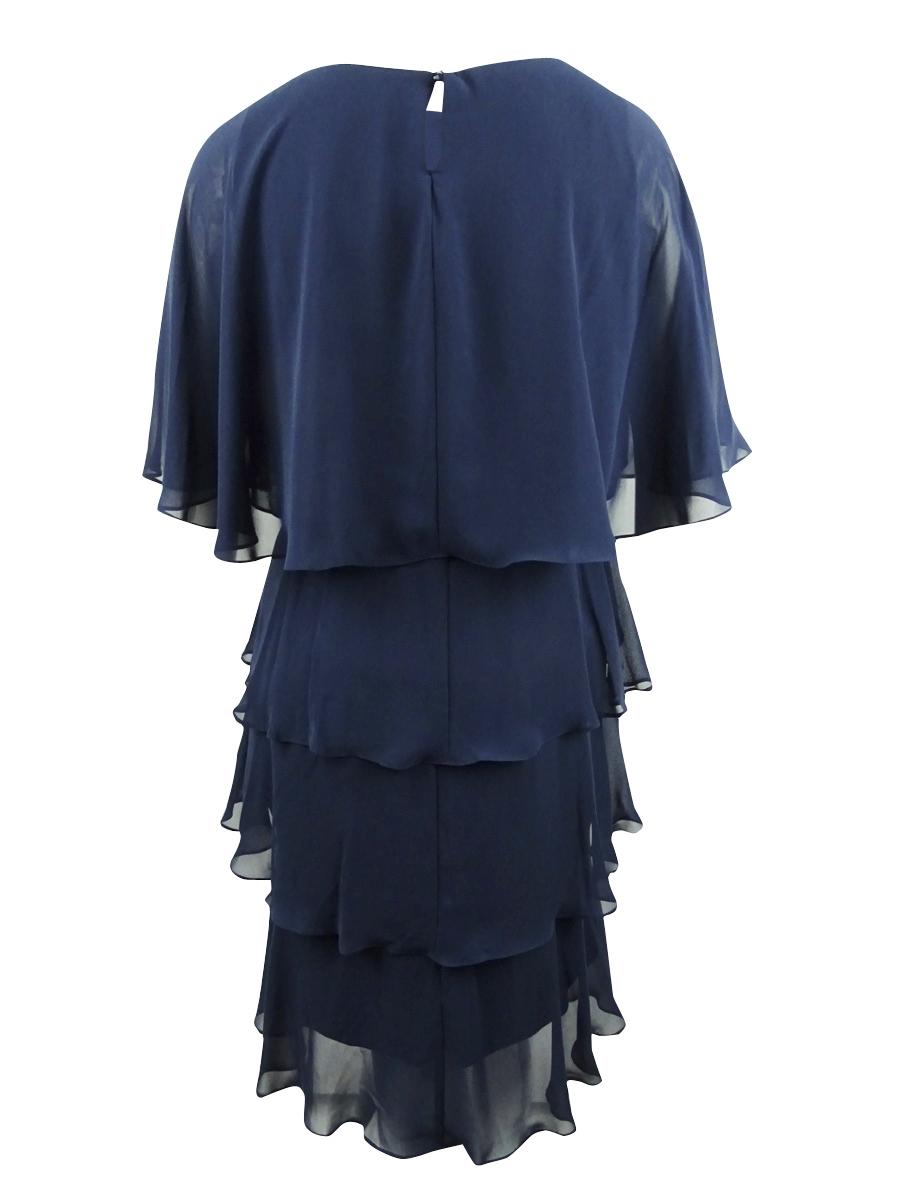 Details about SL Fashions Women\'s Plus Size Embellished Tiered Chiffon Dress