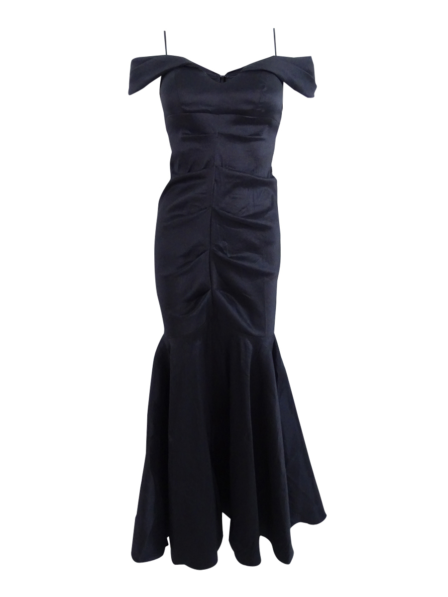 Xscape Women\'s Petite Off-The-Shoulder Ruched Mermaid Gown | eBay