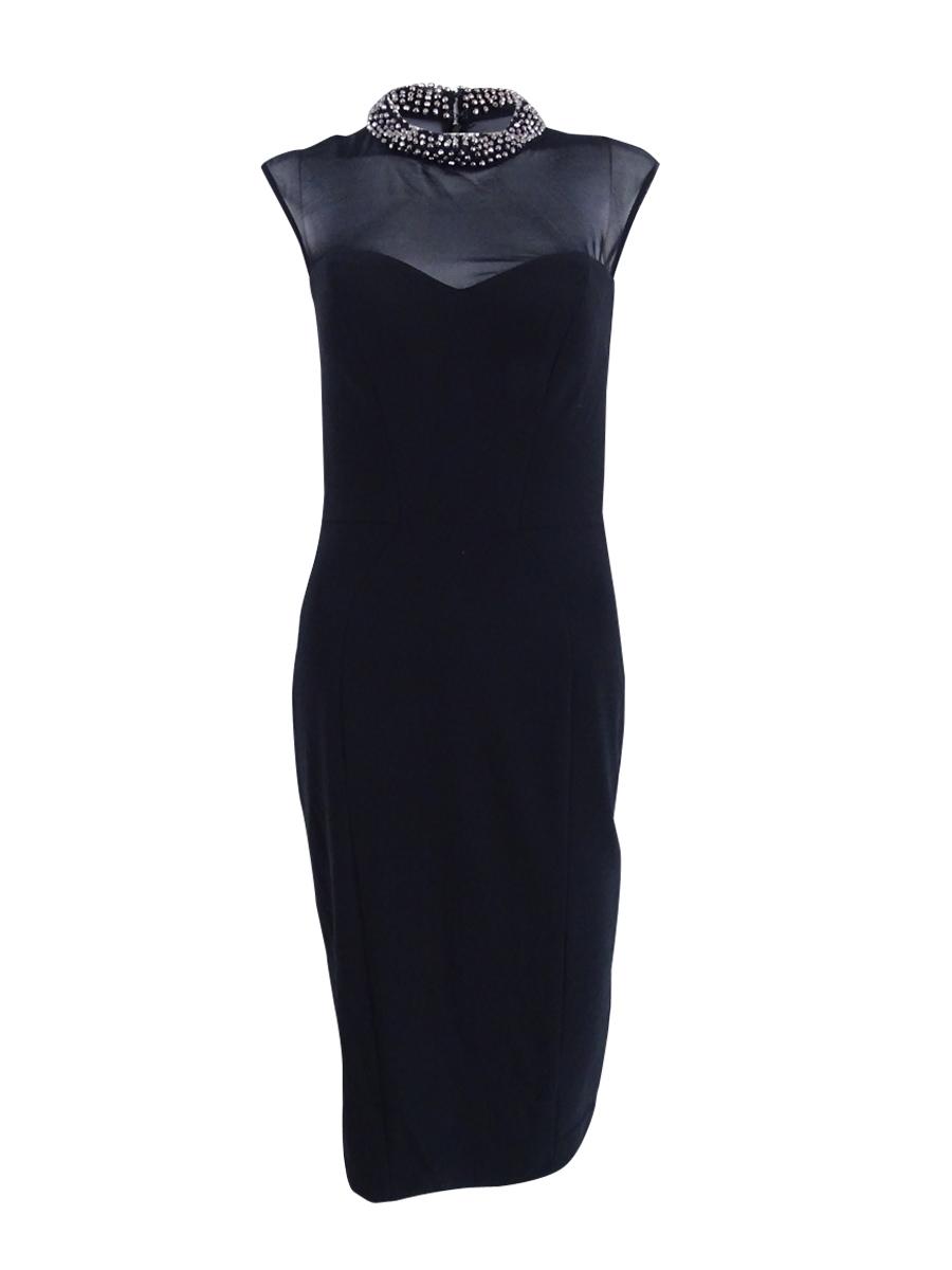 Xscape Beaded Illusion Bodycon Dress 12 Black/gunmetal | eBay
