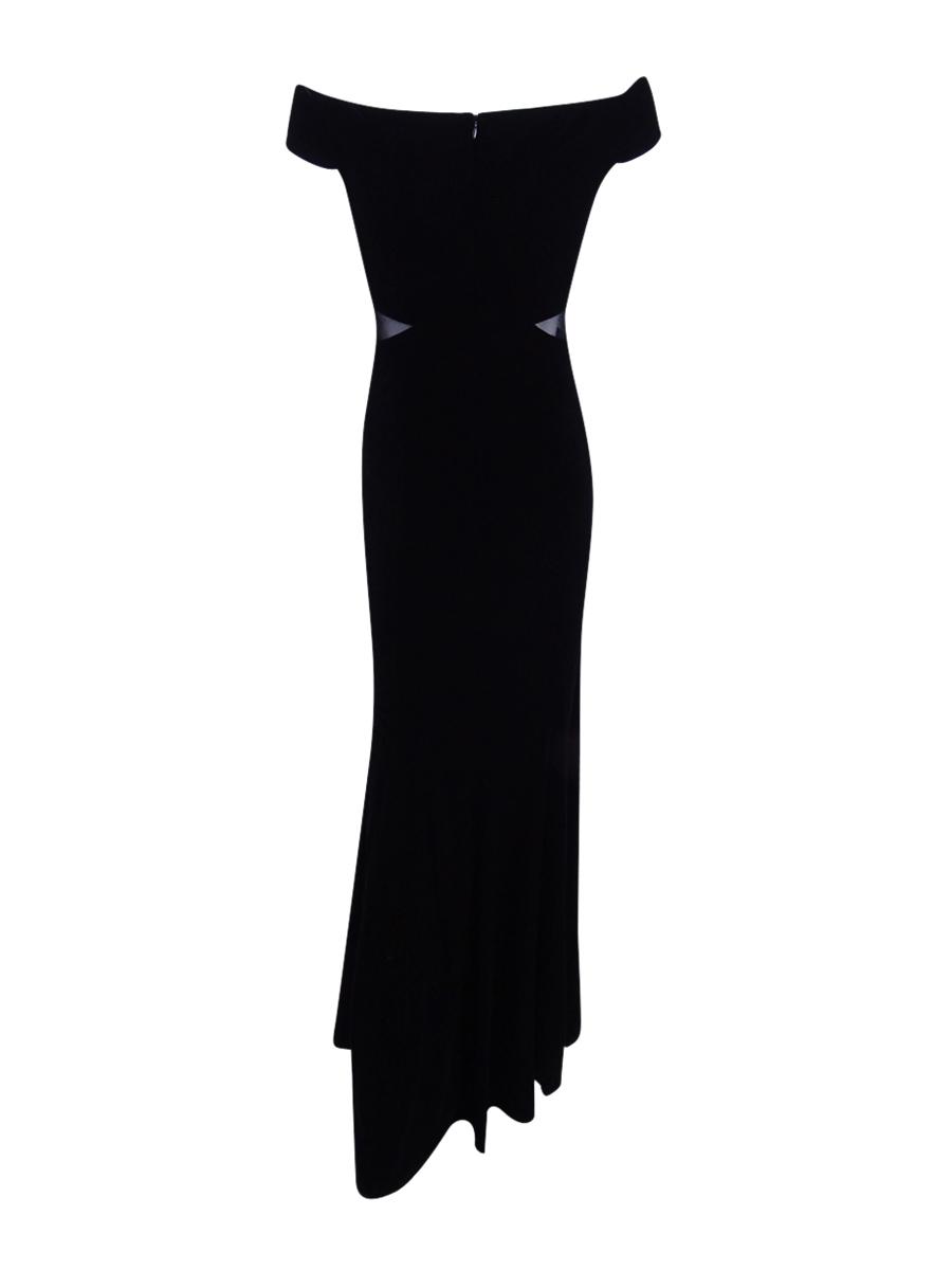 Xscape Black Women 10 Velvet Mesh off Shoulder Ball Gown Dress #059 ...