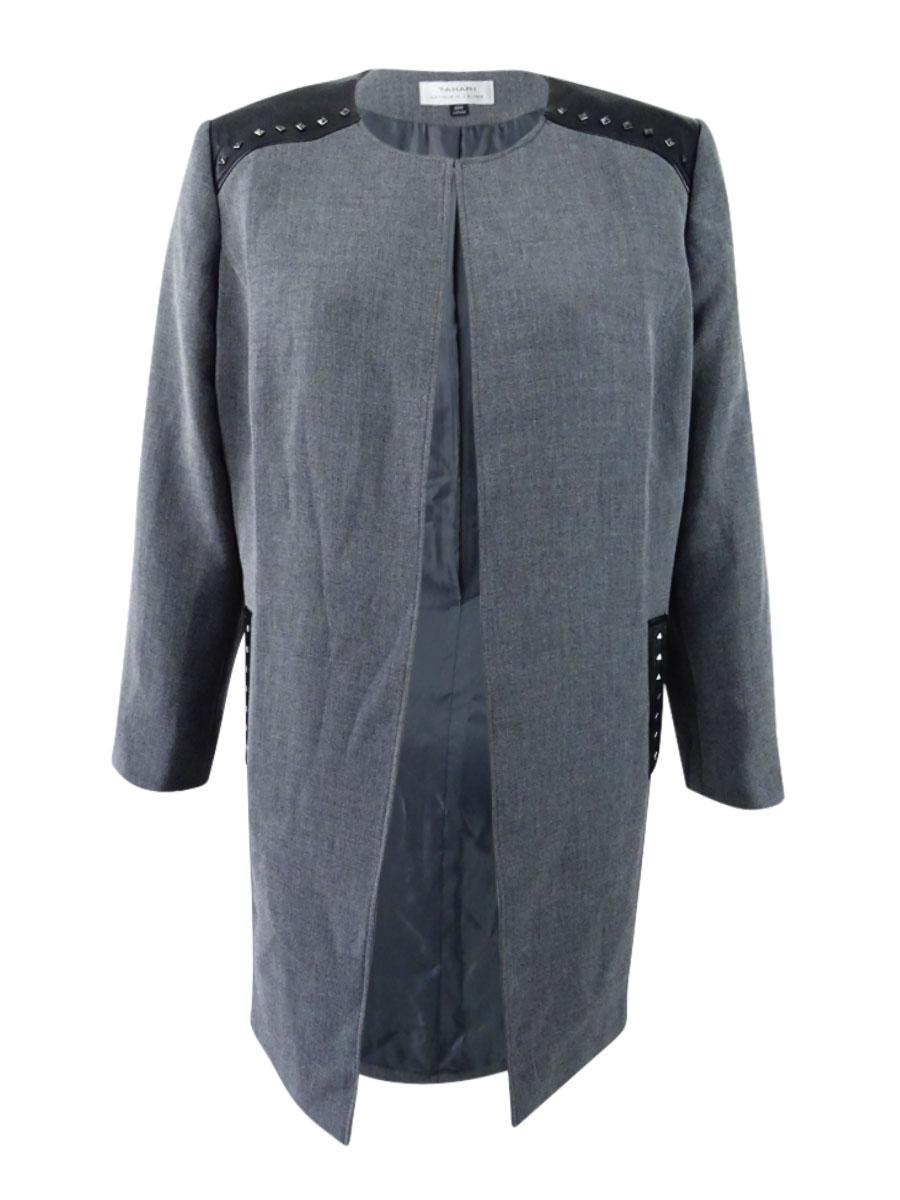 2c90b705489 Tahari ASL Women s Plus Size Faux-Leather-Trim Topper Jacket (20W ...