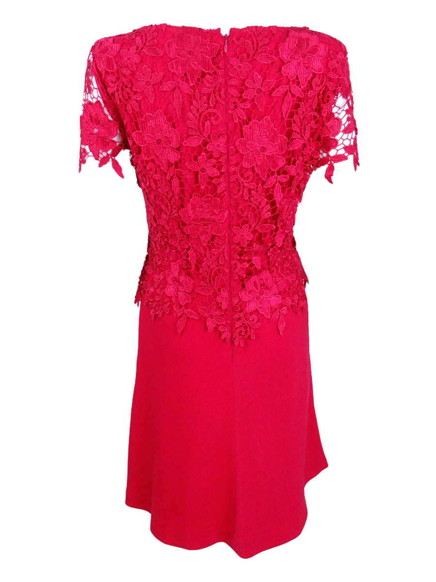 Tahari-ASL-Women-039-s-Lace-Peplum-A-Line-Dress thumbnail 4