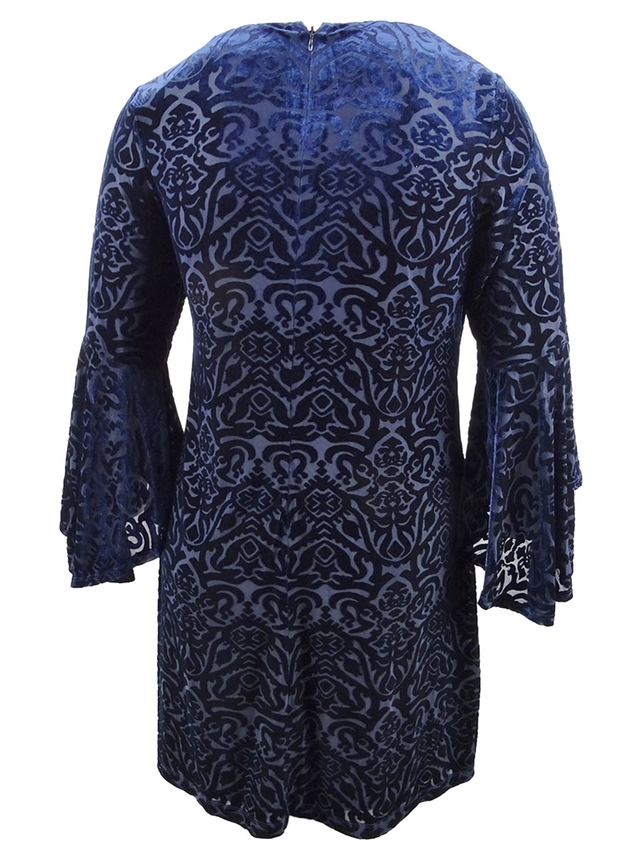 Jessica-Howard-Women-039-s-Plus-Size-Flocked-Velvet-Shift-Dress thumbnail 6
