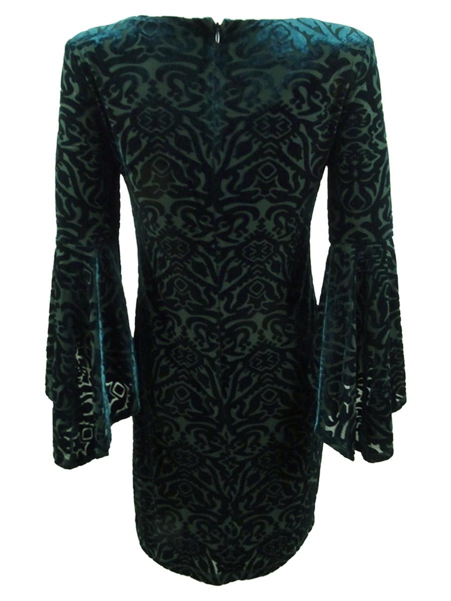 Jessica-Howard-Women-039-s-Plus-Size-Flocked-Velvet-Shift-Dress thumbnail 4