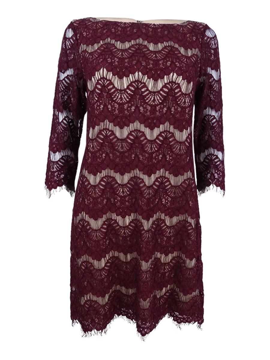 89bad54b5fdd Jessica Howard Wine 3/4-sleeve Lace Illusion Sheath Dress 12 | eBay