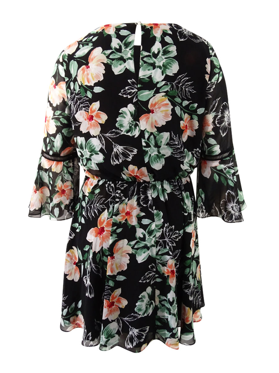Vince-Camuto-Women-039-s-Floral-Print-Bell-Sleeve-Dress thumbnail 4
