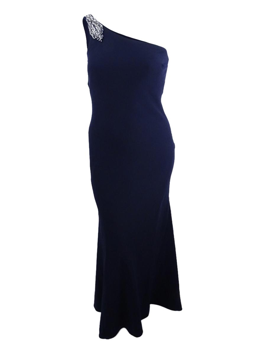 Vince Camuto Navy Blue Embellished One Shoulder Evening Gown Dress ...