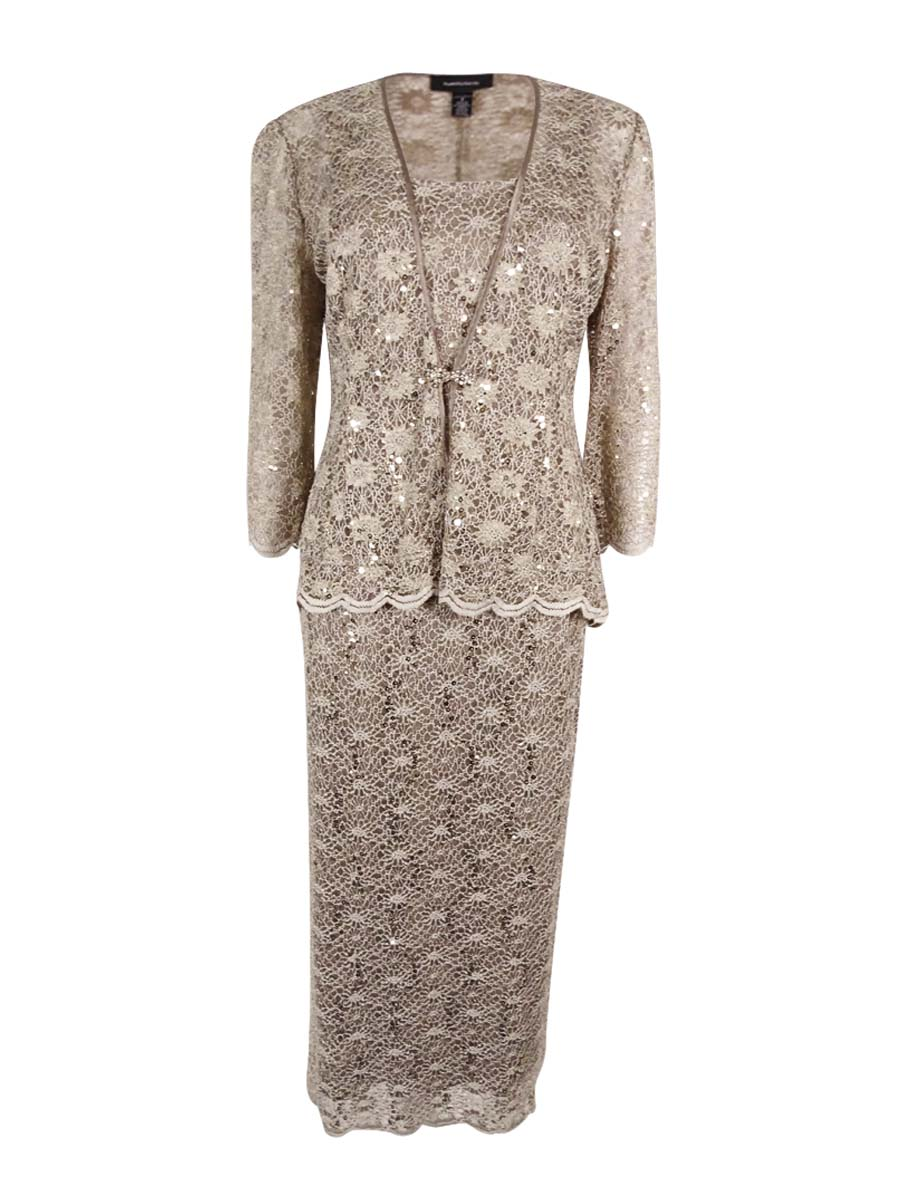 a8c21b0e R&M Richards Womens Plus Size 2PC Scalloped Sequined Lace Dress Set (14W,  Mocha)