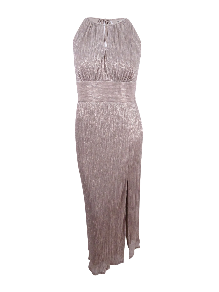 R /& M RICHARDS NEW Women/'s Metallic Knit Keyhole Halter Ball Gown Dress 16 TEDO