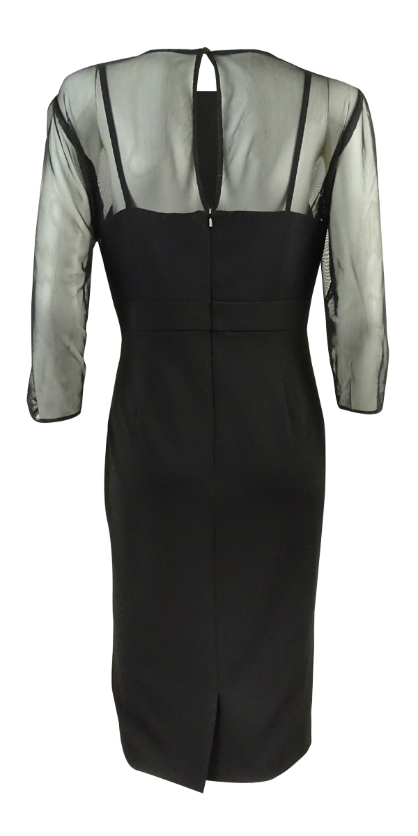 Alex-Evenings-Women-039-s-Embellished-Illusion-Sheath-Dress thumbnail 4
