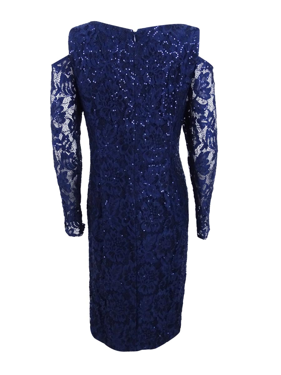 b53a05fe87eb4 Alex Evenings Women s Plus Size Sequined Lace Cold-shoulder Dress 16w Navy.  About this product. Picture 1 of 4  Picture 2 of 4  Picture 3 of 4  Picture  4 of ...