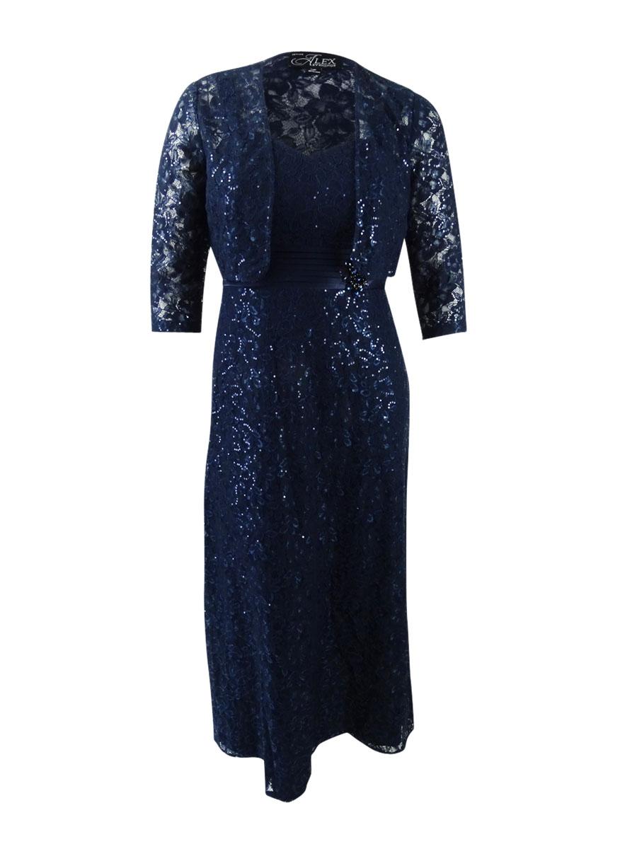 Alex Evenings Para Mujer De Encaje A Line Gown Bolero