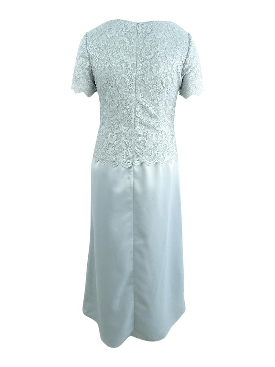 Alex-Evenings-Women-039-s-Plus-Size-Glitter-Lace-amp-Satin-Gown thumbnail 4