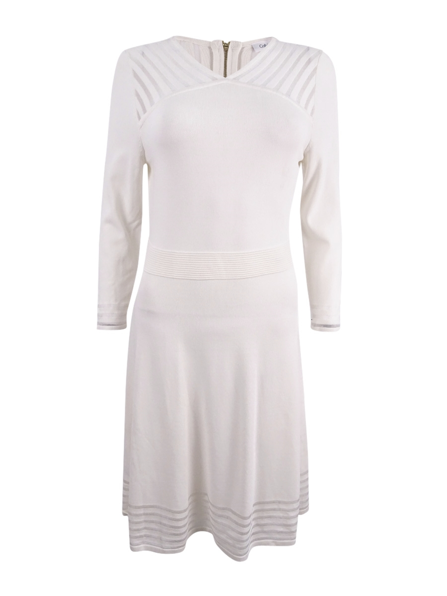 b7918b91 Calvin Klein Women's Illusion-Stripe Fit & Flare Sweater Dress S, Cream