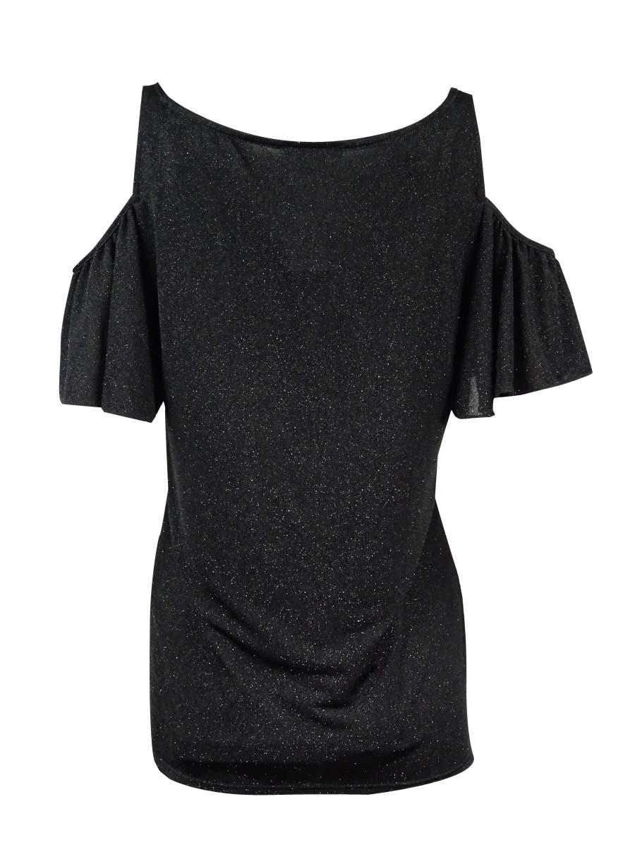 f0725a0b9a9d5 Buy MSK Black Glitter Open Cold Shoulder Top Ruffle Sleeve Shimmer ...