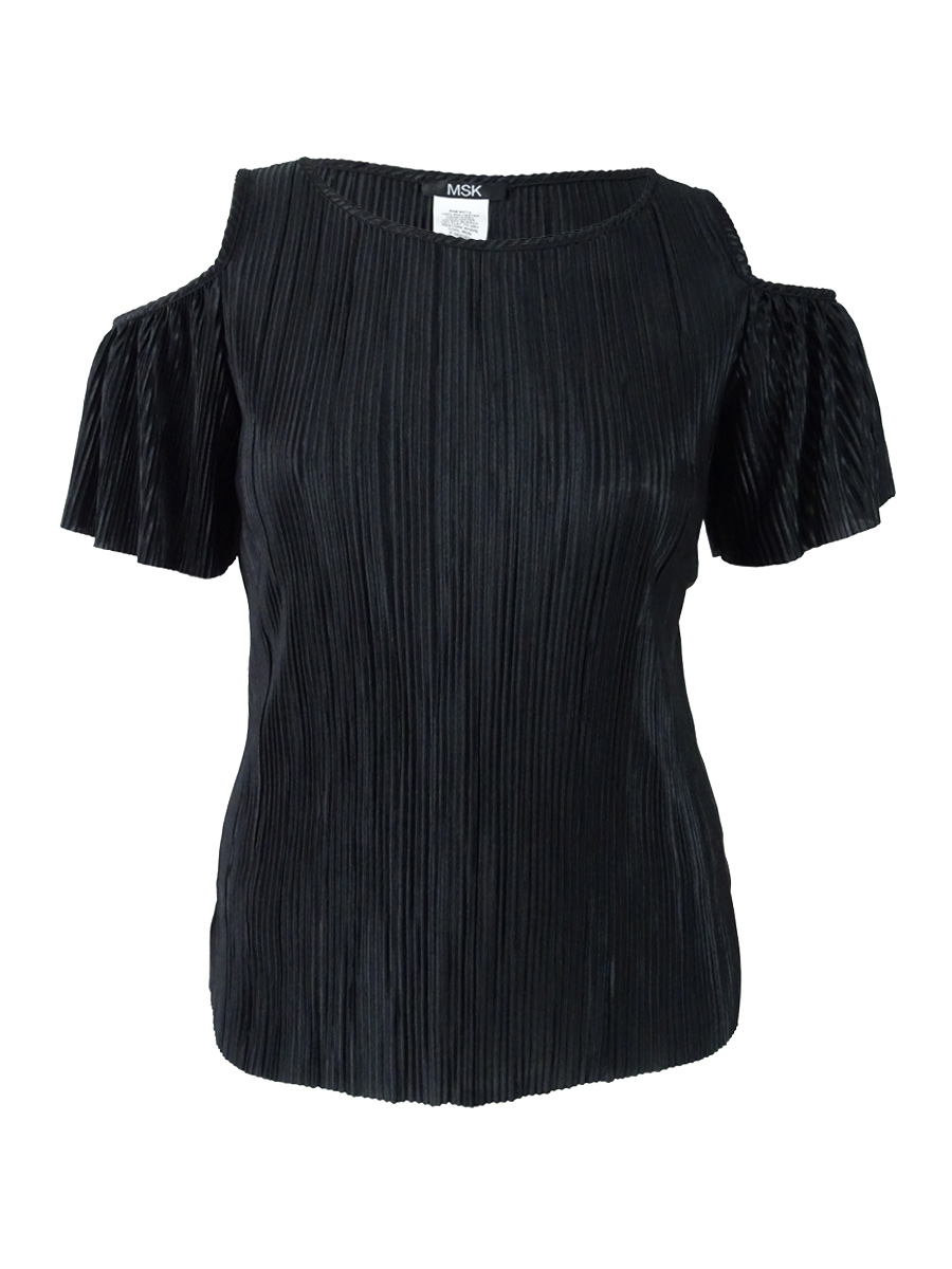 dcdd6e00bd484 Msk Women s Pleated Cold-Shoulder Top XL