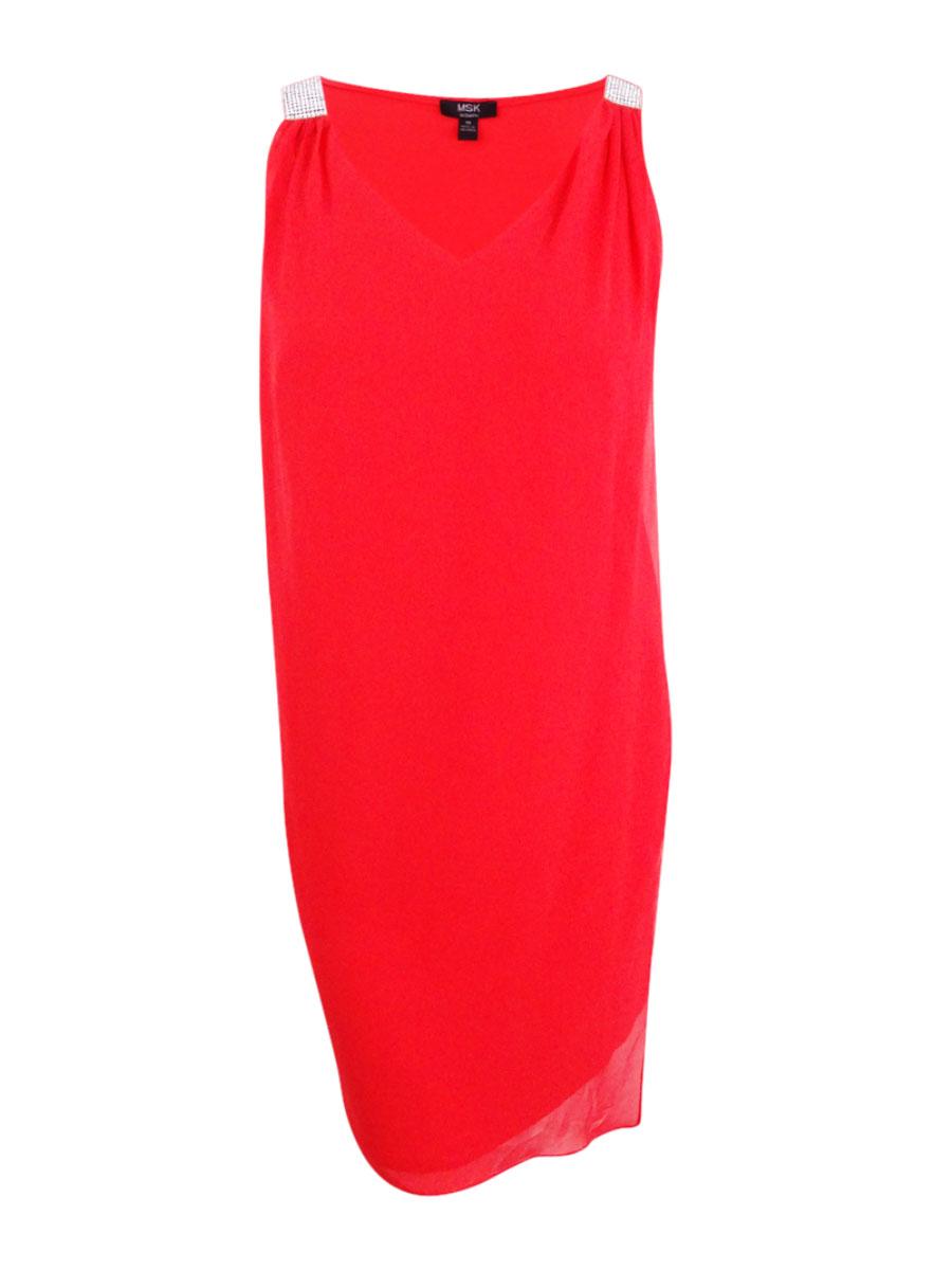e867009f5361c Msk Women's Plus Size Rhinestone Chiffon Overlay Dress   eBay