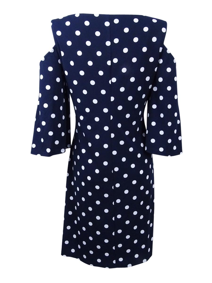 Connected-Women-039-s-Cold-Shoulder-Polka-Dot-Shift-Dress thumbnail 4