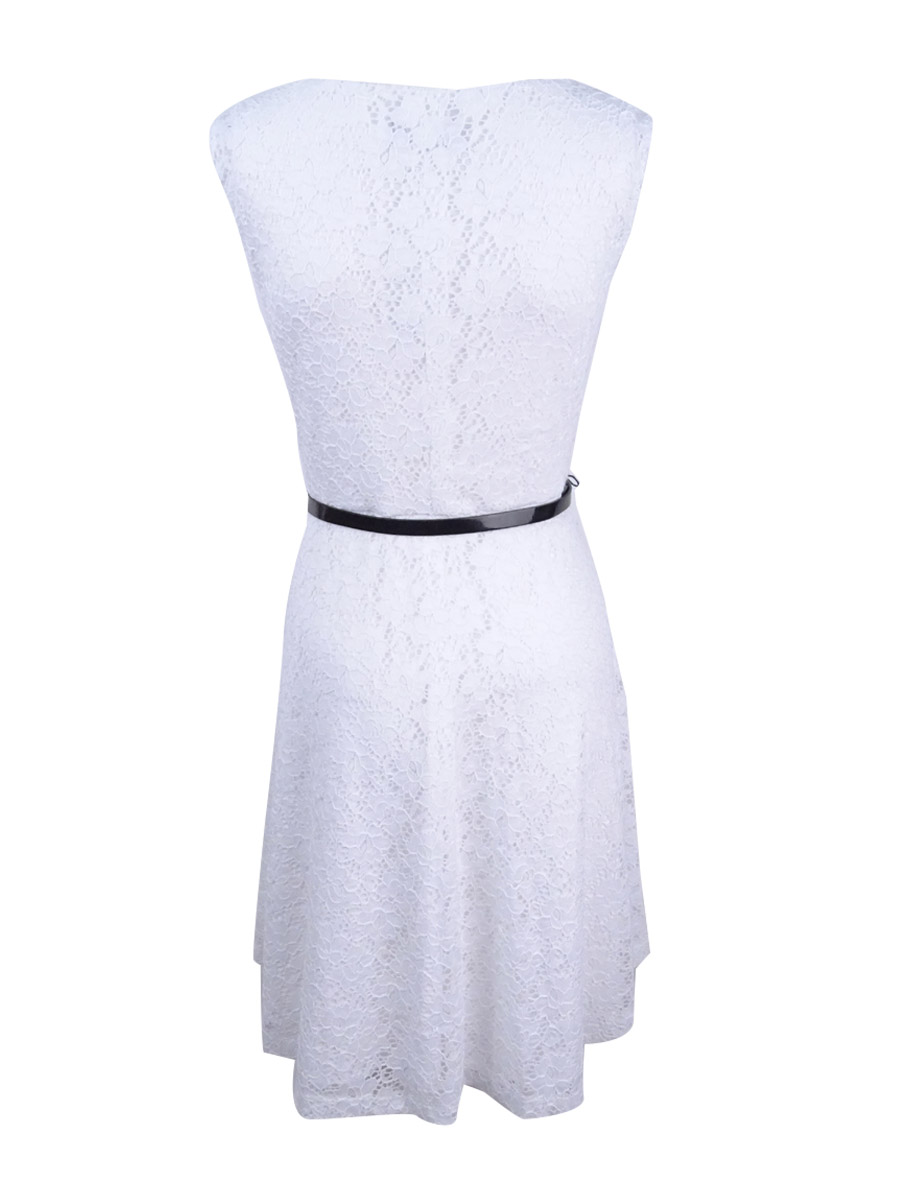 Connected-Women-039-s-Petite-Sleeveless-Fit-amp-Flare-Lace-Dress thumbnail 4
