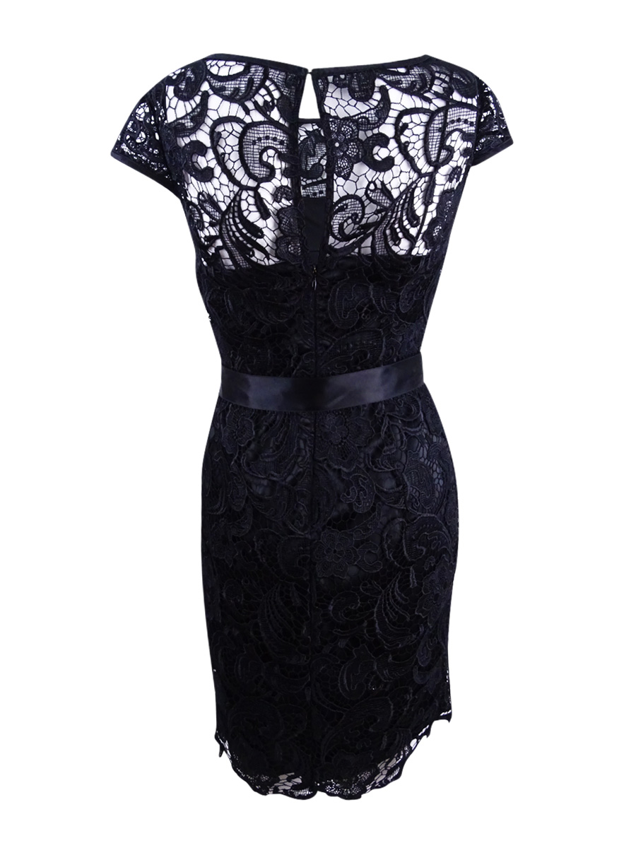 Adrianna-Papell-Women-039-s-Cap-Sleeve-Illusion-Lace-Sheath-Dress thumbnail 6