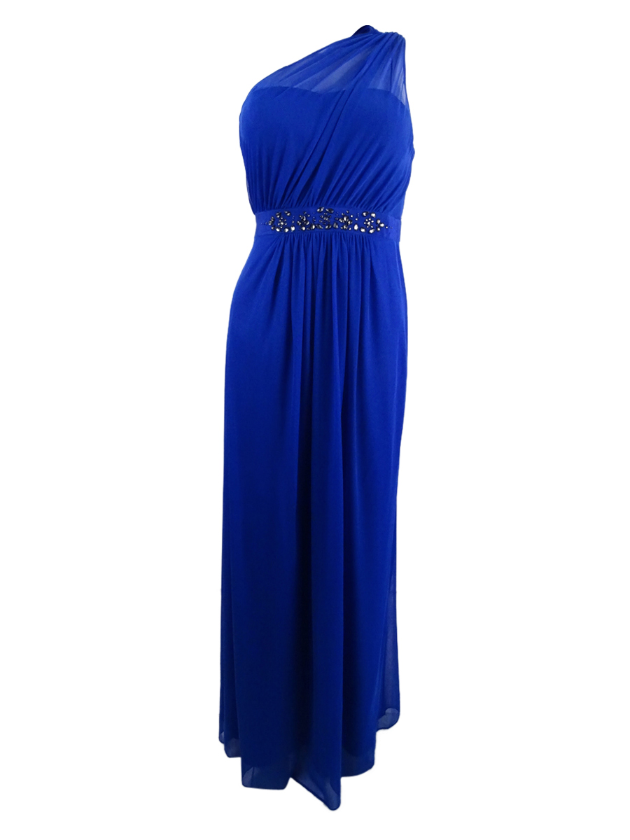 Adrianna Papell Embellished One-shoulder Gown Royal Blue Size 10 | eBay