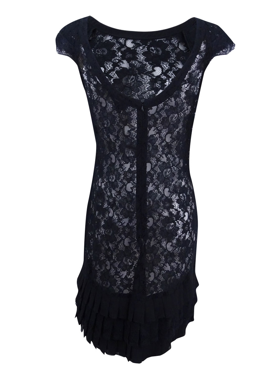 Jessica-Simpson-Women-039-s-Cap-Sleeve-Tiered-Lace-Dress thumbnail 4