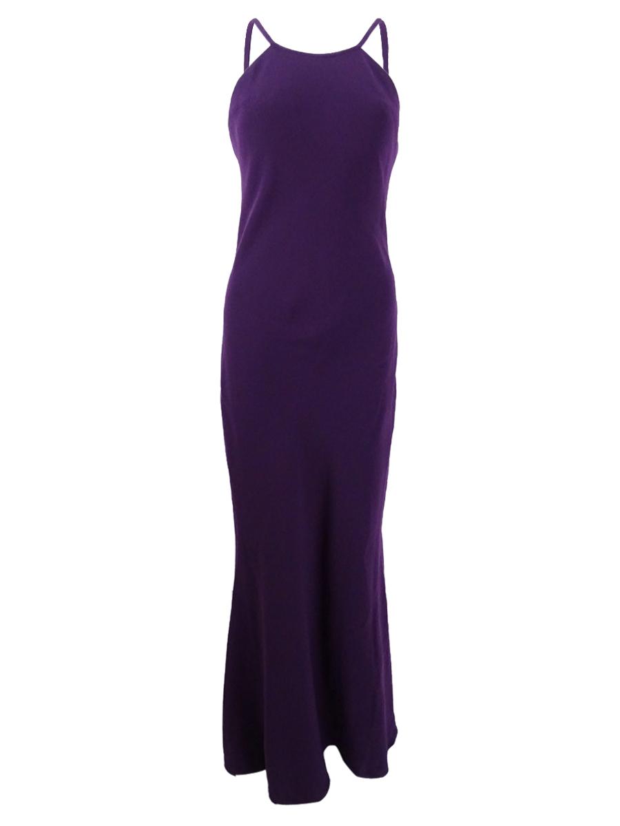 Calvin Klein Purple Womens Size 10 Open-back Halter Sheath Dress 117 ...