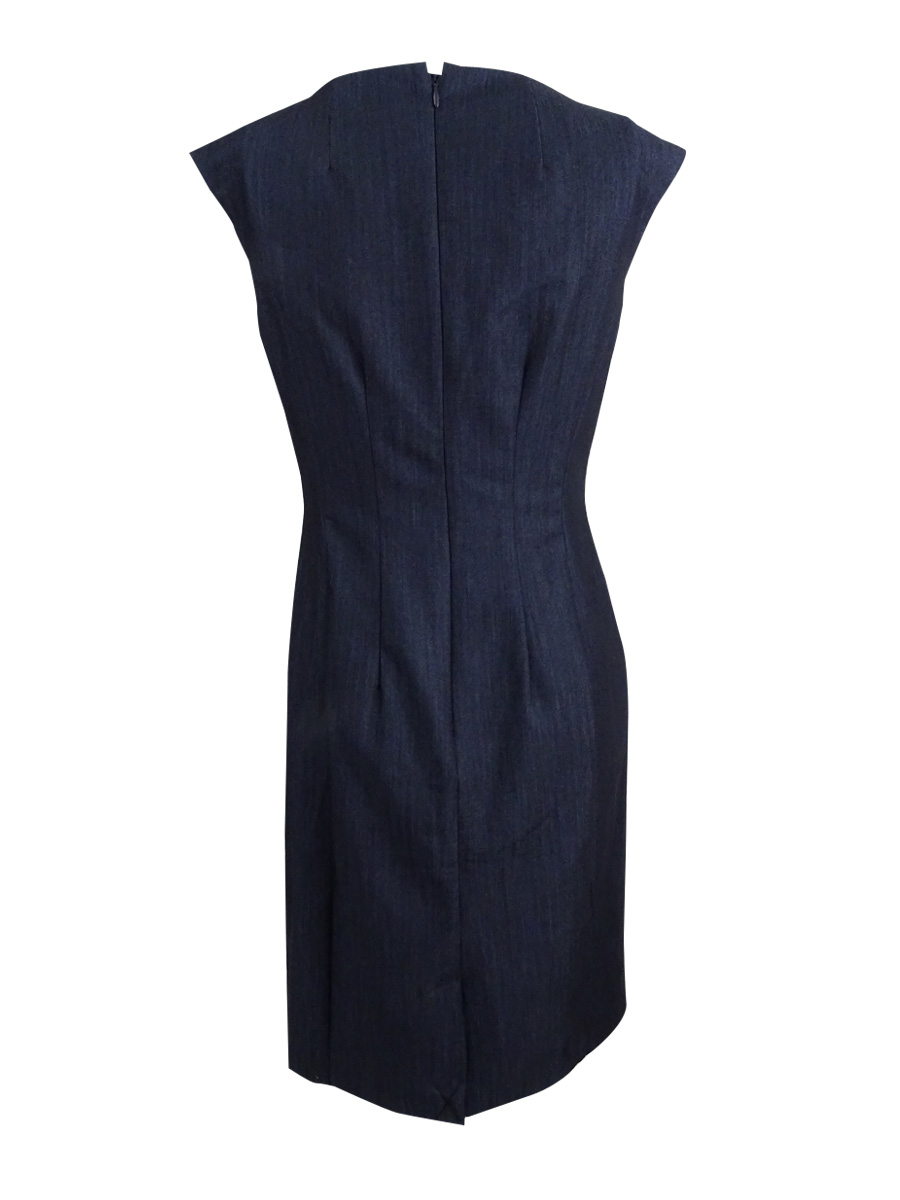 Calvin-Klein-Women-039-s-Petite-Embellished-Denim-Sheath-Dress thumbnail 4