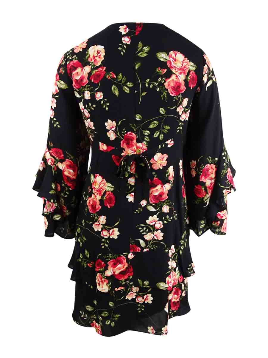 Robbie-Bee-Women-039-s-Plus-Size-Floral-Printed-Tiered-Dress thumbnail 4