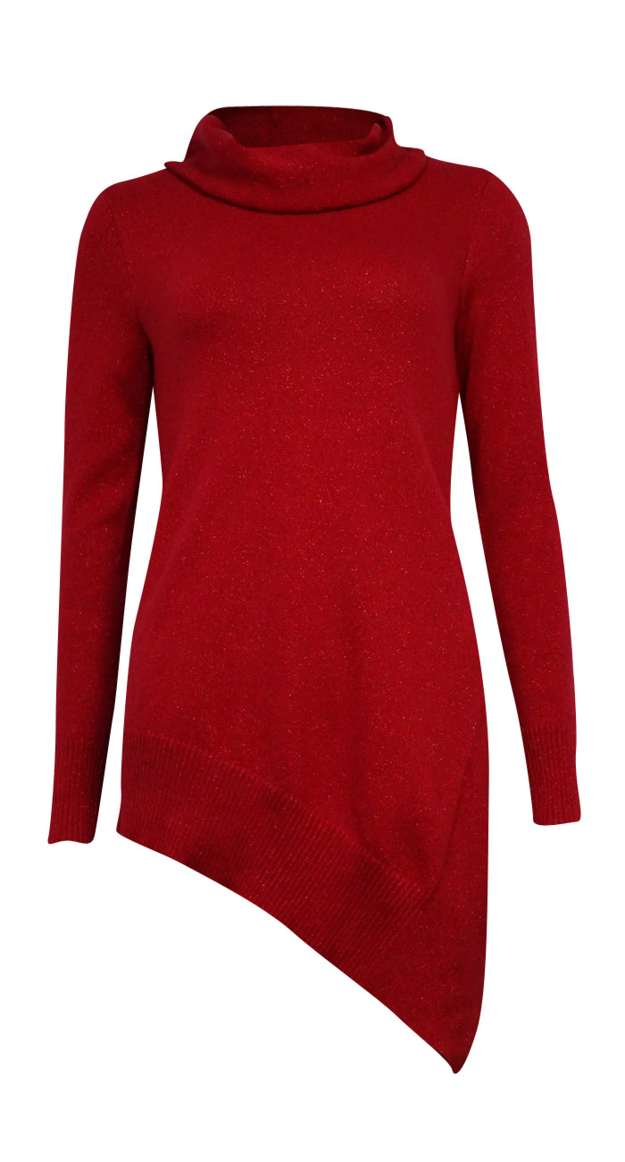 Alfani 4194 Womens Red Asymmetric Shimmer Cowl Neck Pullover ...