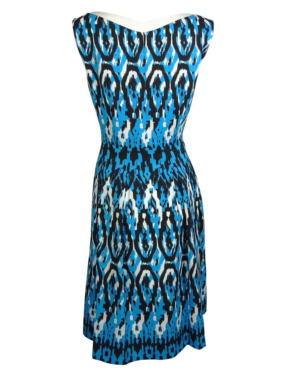 Anne-Klein-Women-039-s-Sleeveless-Ikat-Print-Dress thumbnail 4
