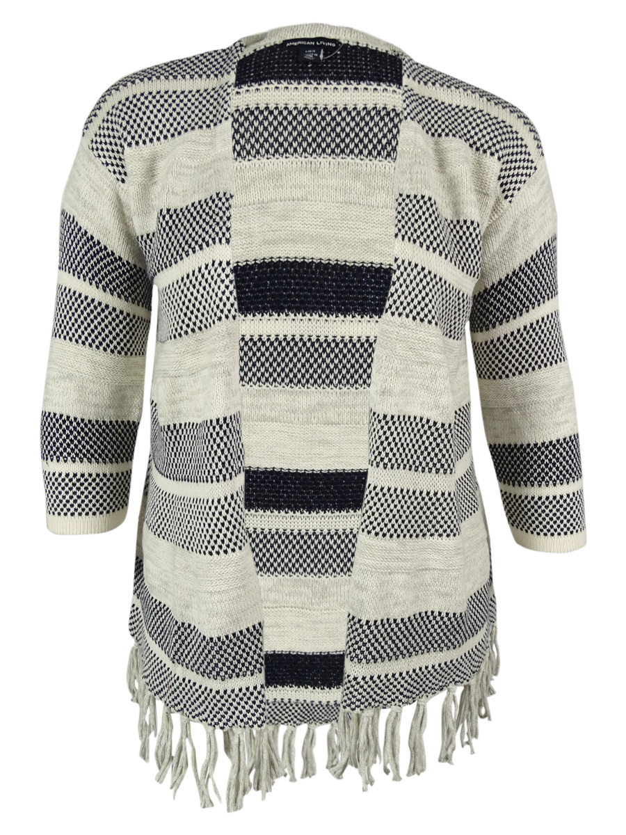 American Living Women's Fringed Striped Sweater Cardigan | eBay