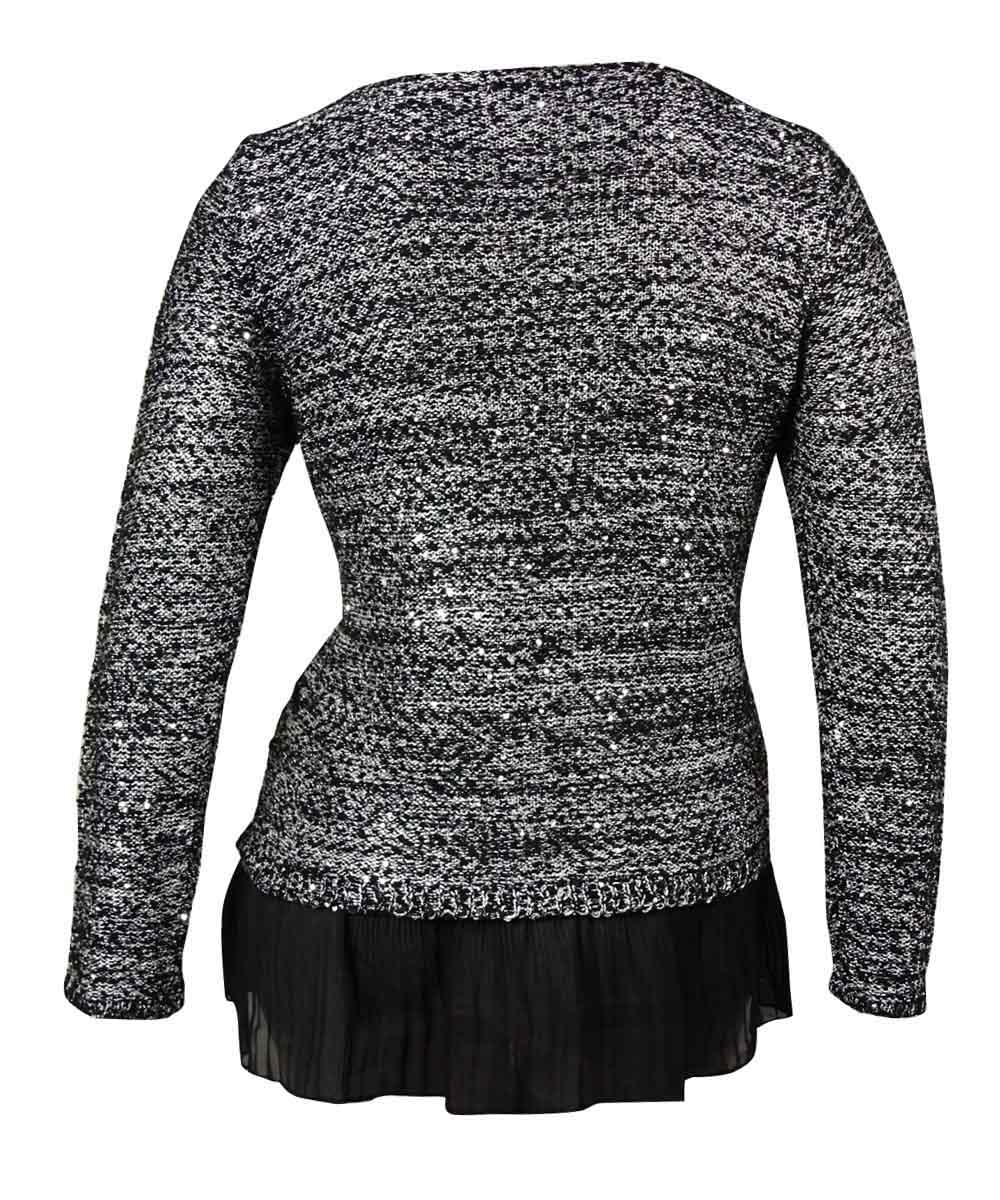 thumbnail 4 - Alfani-Women-039-s-Chiffon-Hem-Sequin-Knit-Sweater-Blouse-L-Marl-Black-Combo