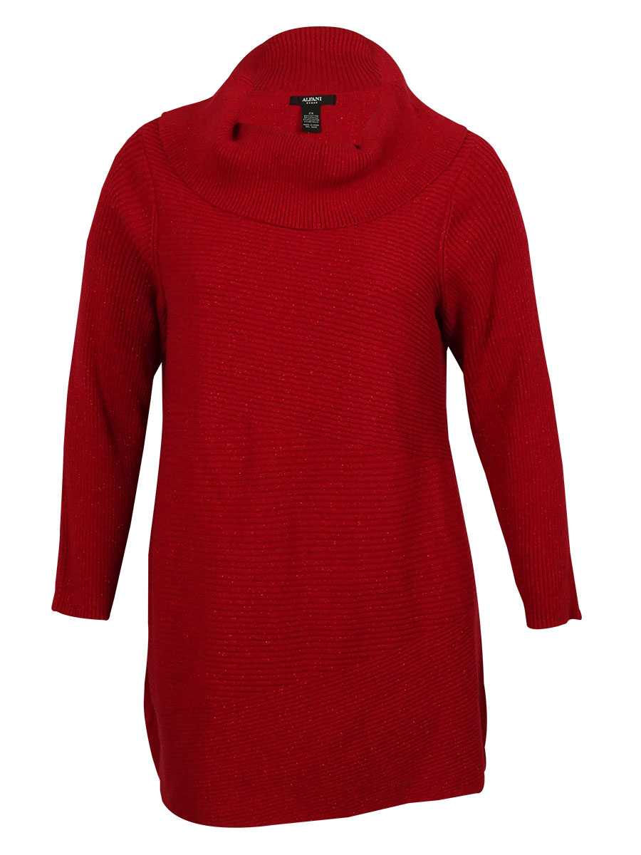 Alfani 2729 Womens Red Metallic Cowl Neck Pullover Sweater Petites ...