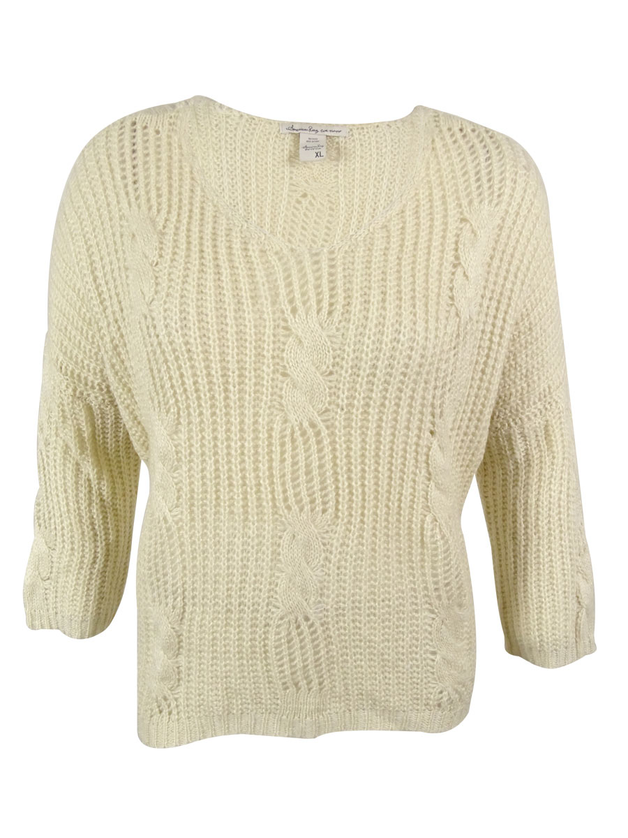 American Rag 0083 Womens Beige Cable Knit Open Stitch Pullover ...