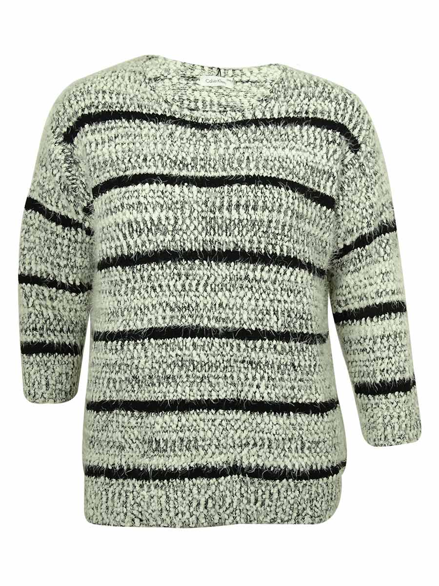 a4d8302fd89 Details about Calvin Klein Women's Striped Eyelash-Knit Sweater