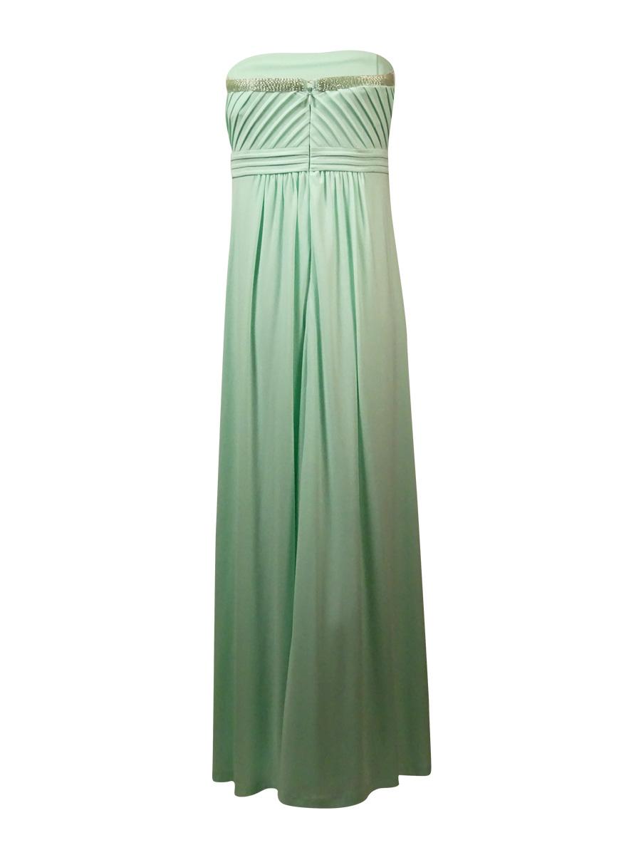 Calvin Klein Women\'s Beaded Pintucked Jersey Strapless Gown 10 MINT ...