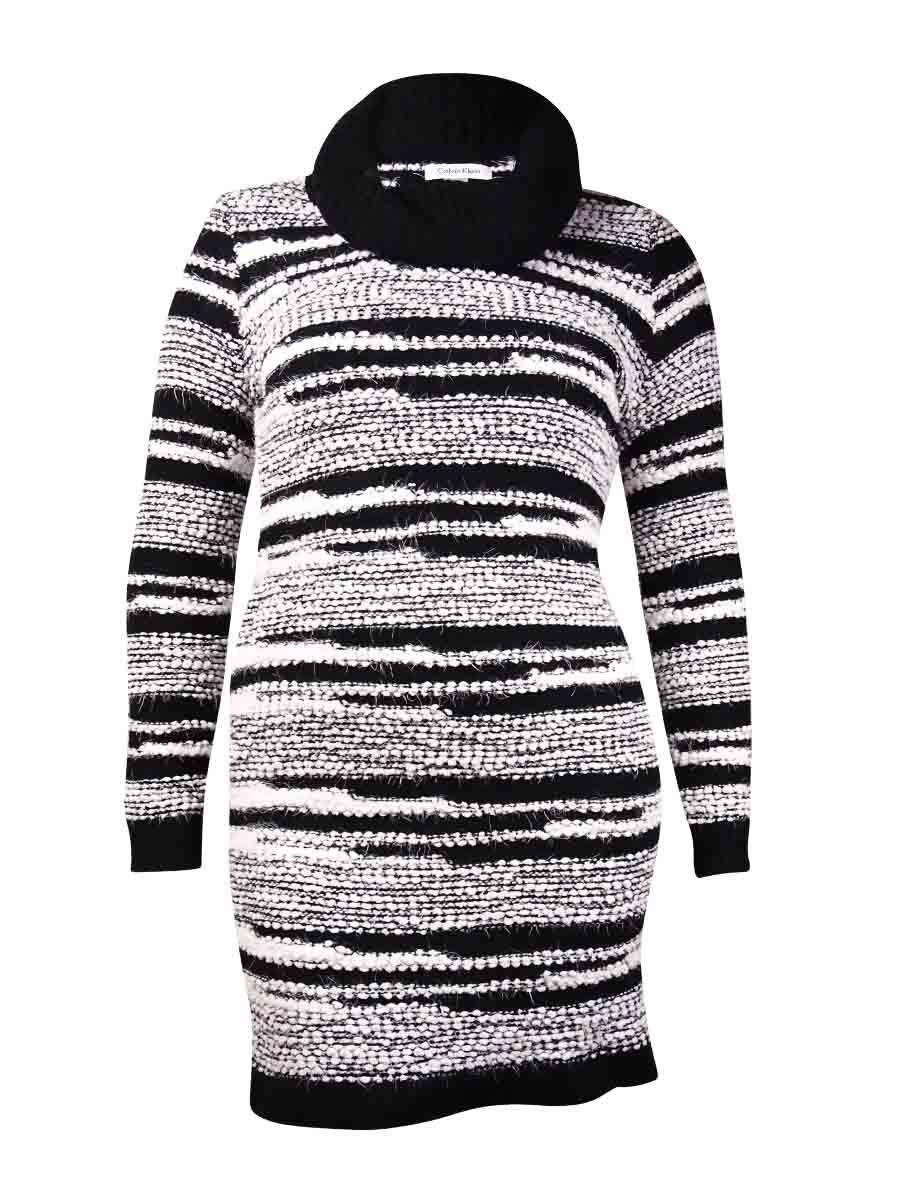 4f5907d54d Calvin Klein Women s Cowl Eyelash Striped Sweater Dress (XL