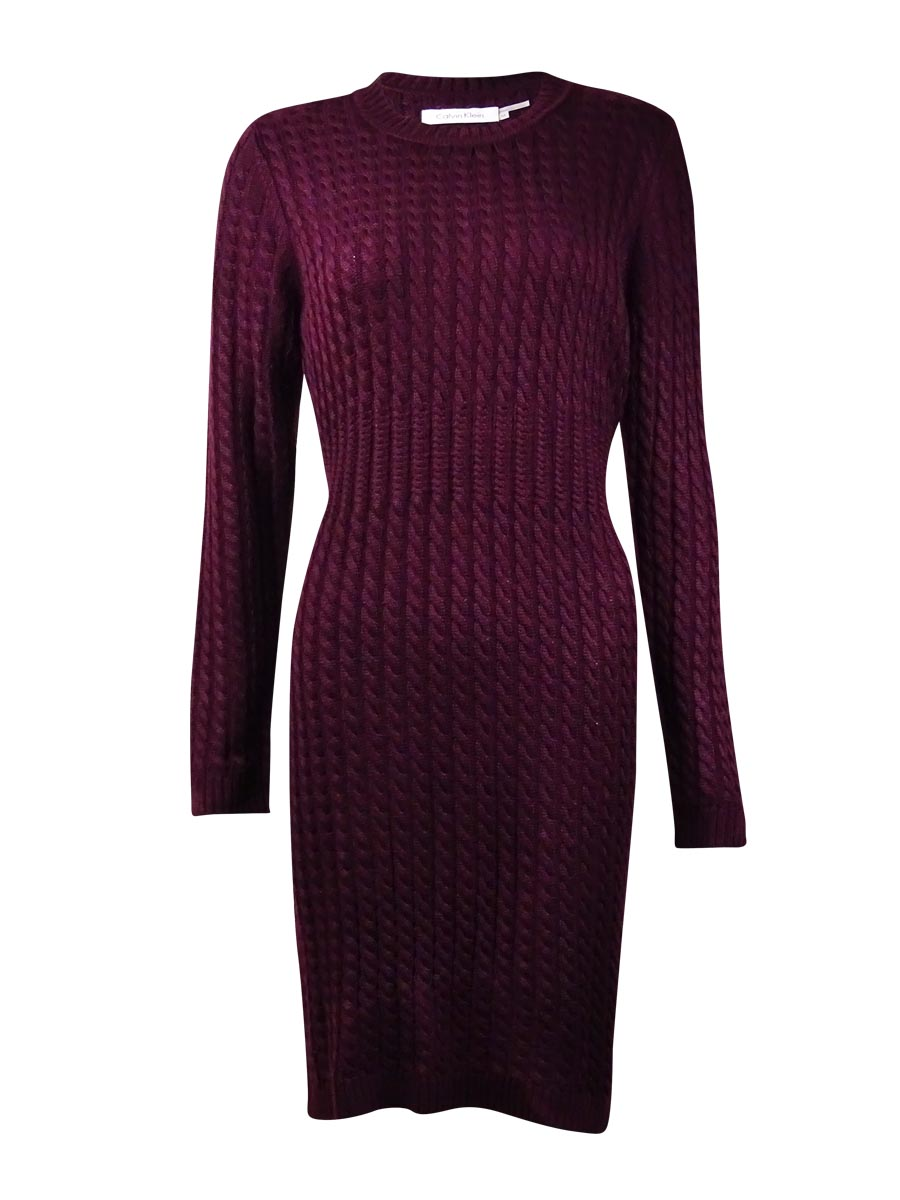 Calvin Klein Womens 8221 Purple Crew Neck Cable Knit Sweater Dress ...