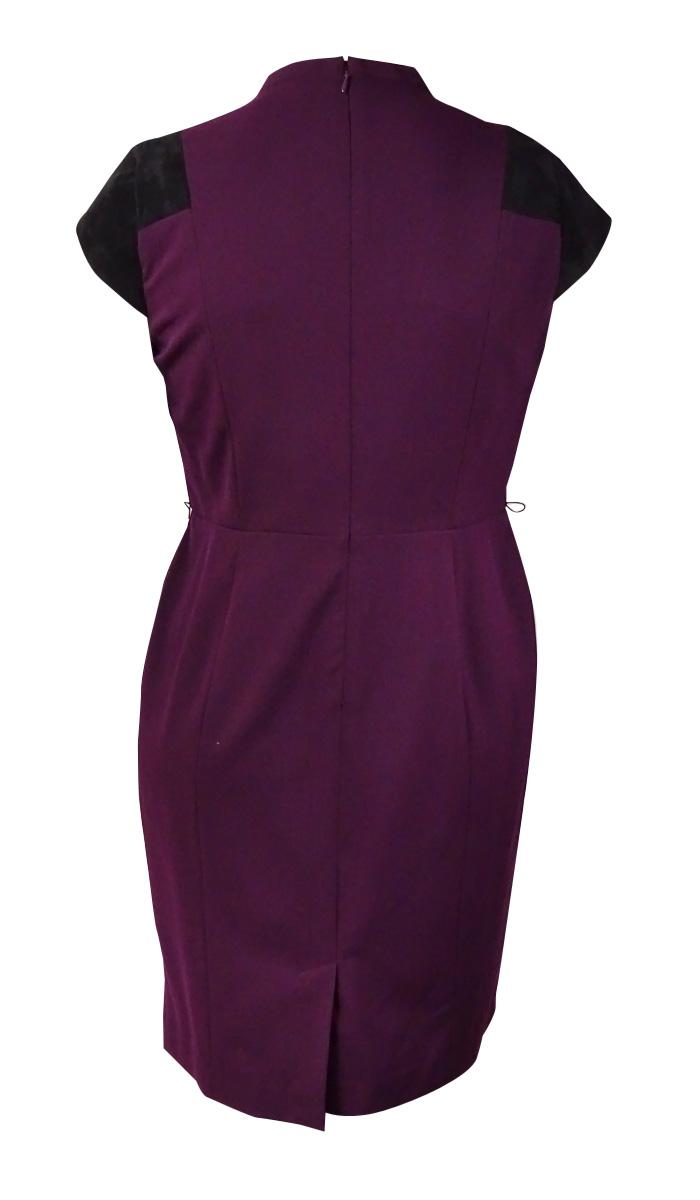 Calvin-Klein-Women-039-s-Faux-Suede-Gabardine-Dress thumbnail 4