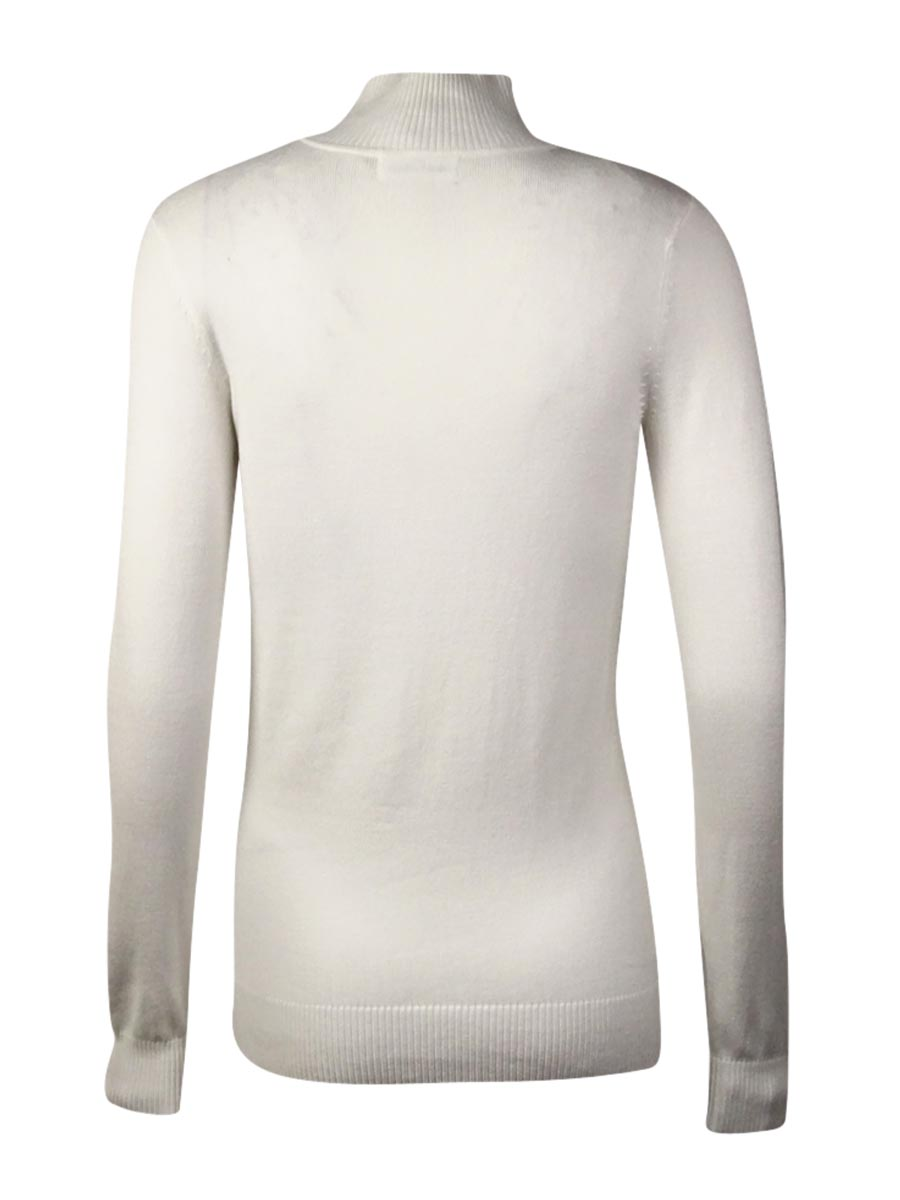 Calvin Klein 1926 Womens White Knit Mock Turtleneck Sweater Top XL ...