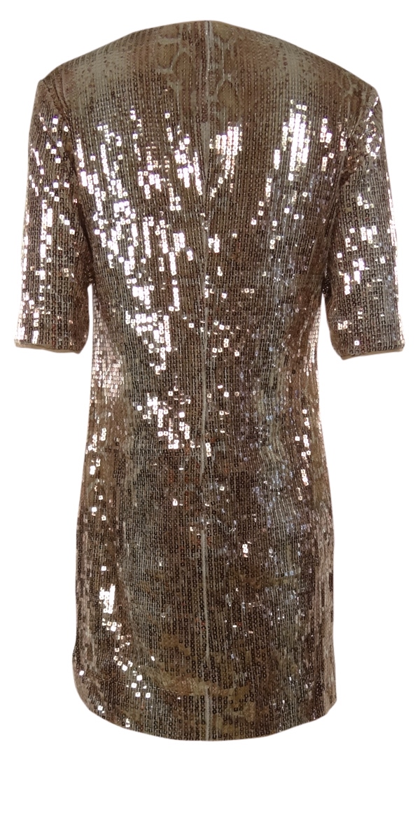 Square-Sequined-V-Neck-Half-Sleeves-Shift-Dress thumbnail 4