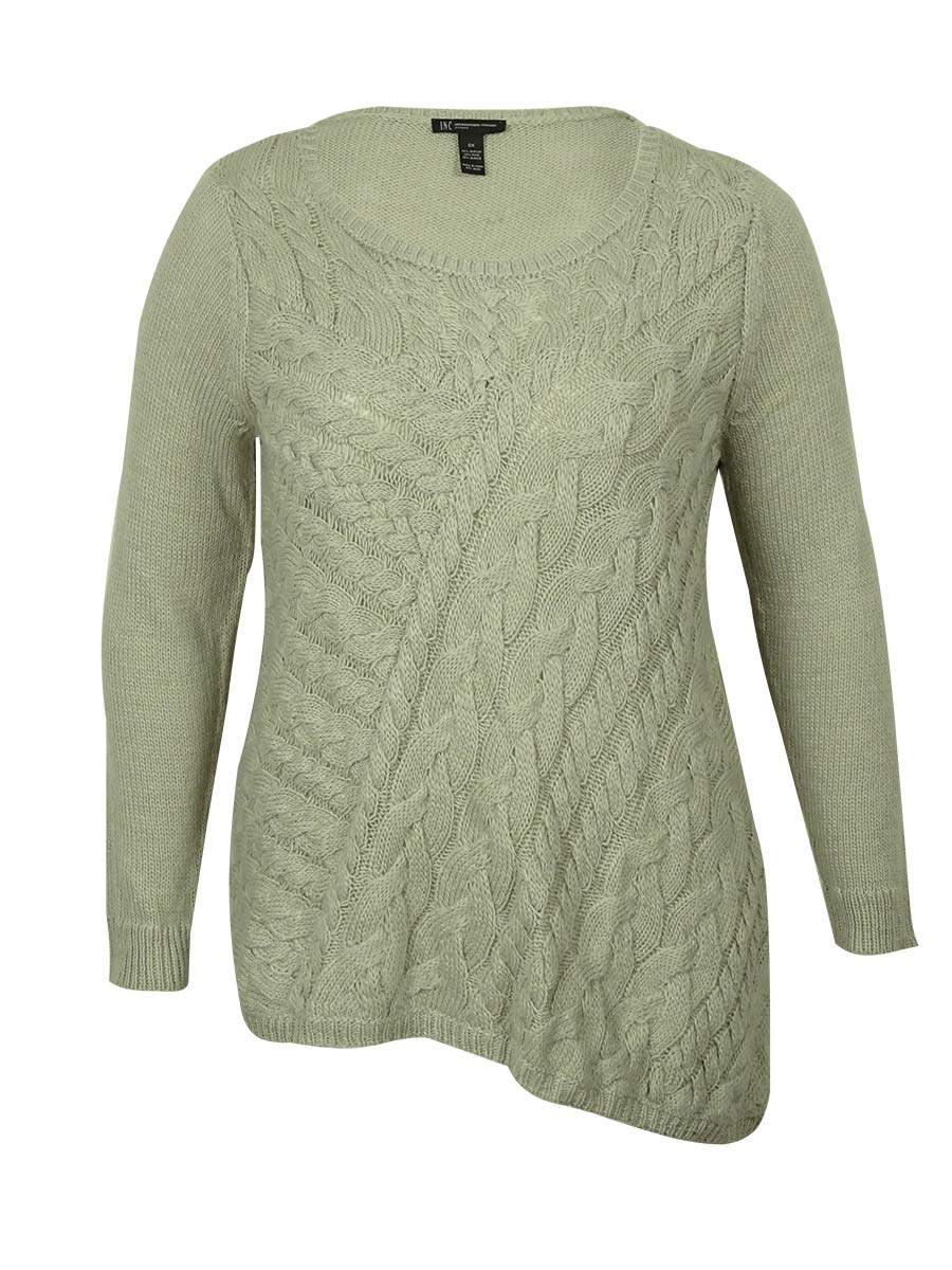 Inc Plus Womens Cable Knit Tunic Sweater Sz 0x Pebble Solid ...