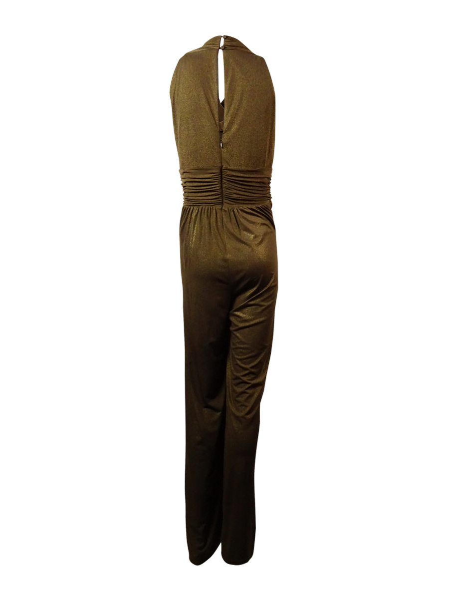 b3713a5b6b34 Jessica Howard 0485 Womens Brown Shimmer Embellished Jumpsuit 10 ...