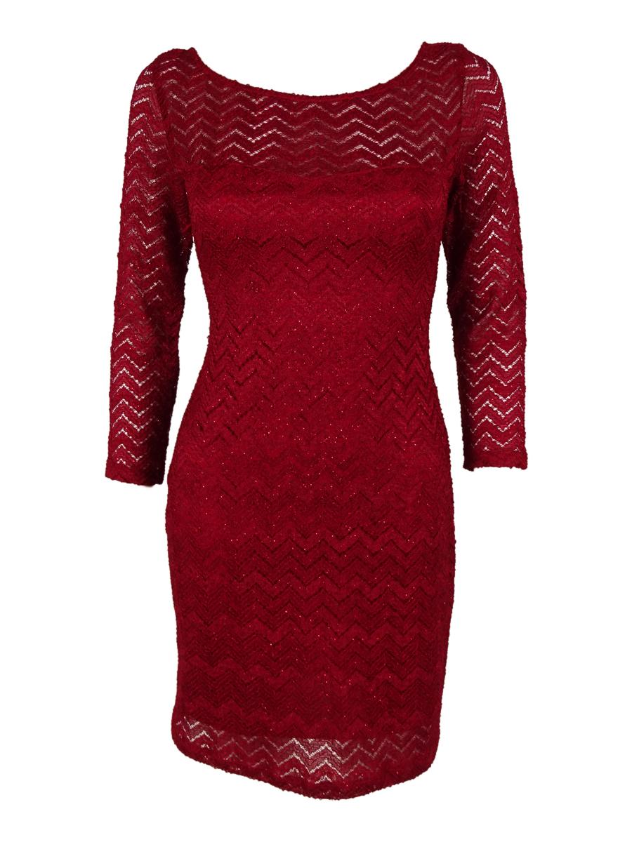 692ccdcef65 Jump Apparel Junior s Glitter Chevron Lace Dress 11 12 Red