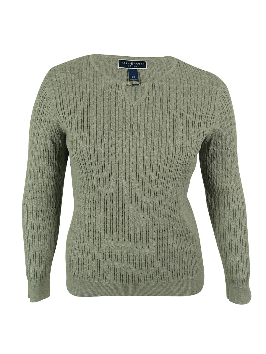 Karen Scott 1890 Womens Gray Cable Knit Heathered Pullover Sweater ...