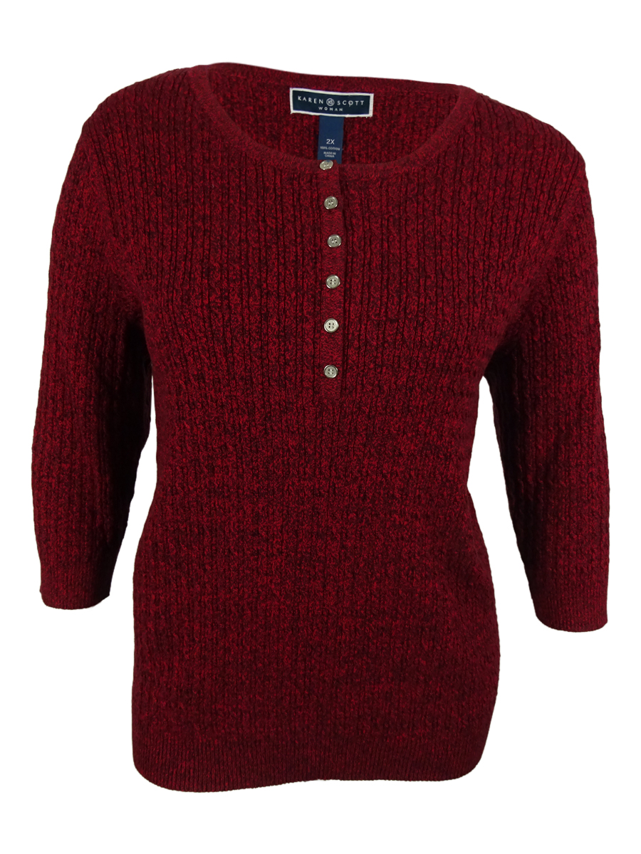 Karen Scott Women's Button Embellished Crew Neck Sweater Plus 2x ...